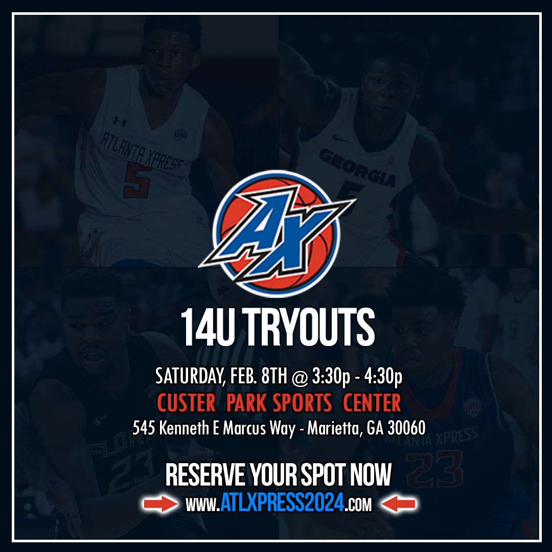 Atlanta Xpress 2024 | 14U Tryouts ⏰ Saturday, Feb 8th @ 3:30pm - 4:30pm 🏠 Custer Park Sports Center in Marietta, GA Reserve your spot now >> https://t.co/xZeM8UskQV #atlantaxpress #basketball #uafuture #underarmour https://t.co/37pJTWyKhp