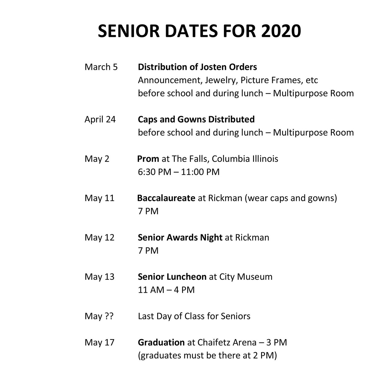 Seniors: here are some important dates! #2020