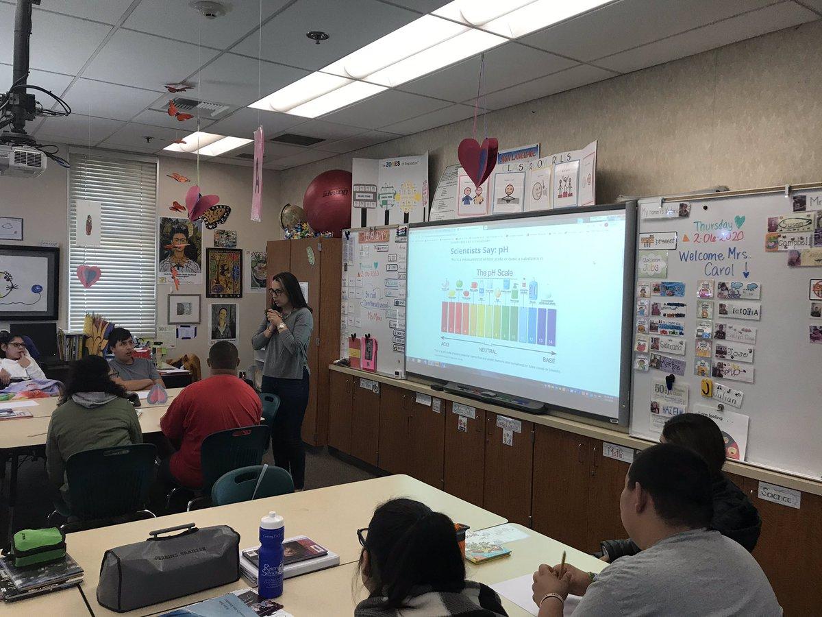 HTH Mod/Sev Education Specialist Teacher Resident Andrea Meier leads science lesson using pH scale!