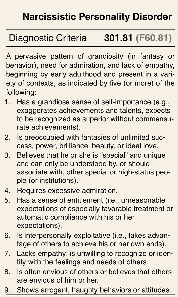 For no particular reason just thought I'd tweet out the diagnostic criteria for Narcissistic Personality Disorder ...