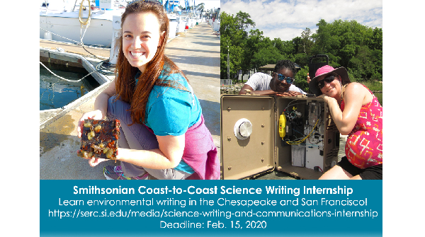 Learn the craft of #sciencewriting on both sides of the US! Applications are open for our 18-week coast-to-coast science writing #internship, now through Feb. 15. https://serc.si.edu/media/science-writing-and-communications-internship …
