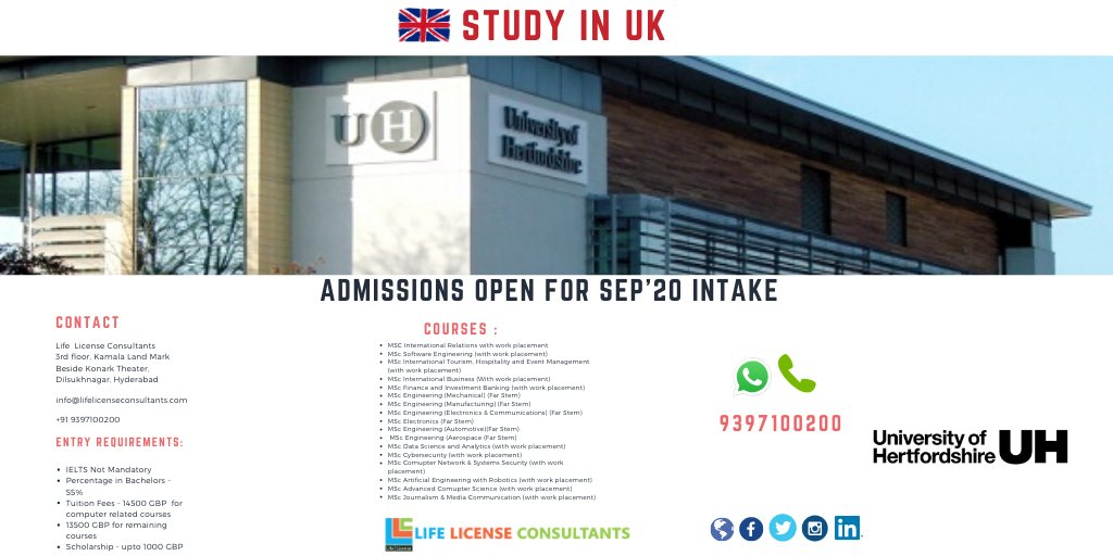 STUDY IN UK University of Hertfordshire ADMISSIONS: SEPTEMBER INTAKE 2020 Life License Consultants - Office: 9937100200 / 9959915680  #StudyInUk #LifeLicenseConsultants #AbroadStudy #UkStudies #UKeducation #UkAdmission #UniversityOfHertfordshire #Education #Admission #applicationpic.twitter.com/KdMggP2lMX