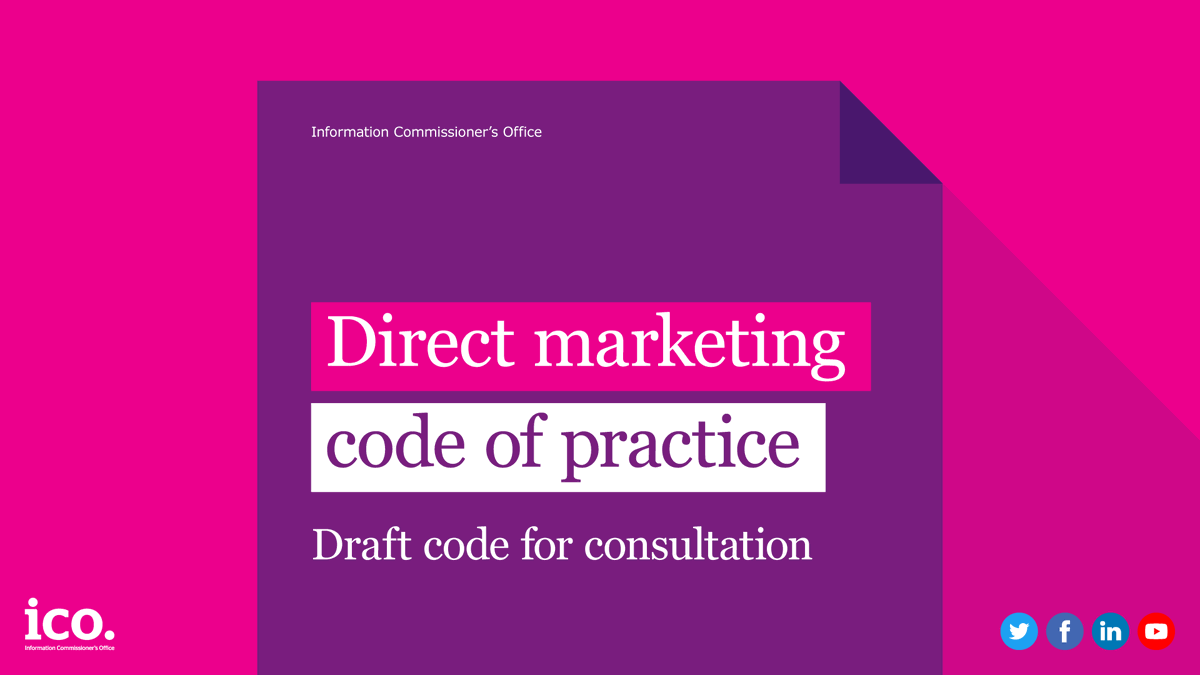 Work in direct marketing? Wed like your views on our direct marketing code of practice which is currently out for consultation. Please submit your views to us before the closing data of 4 March: ow.ly/KzjR50y8VKh #earlybiz #business #ecommerce