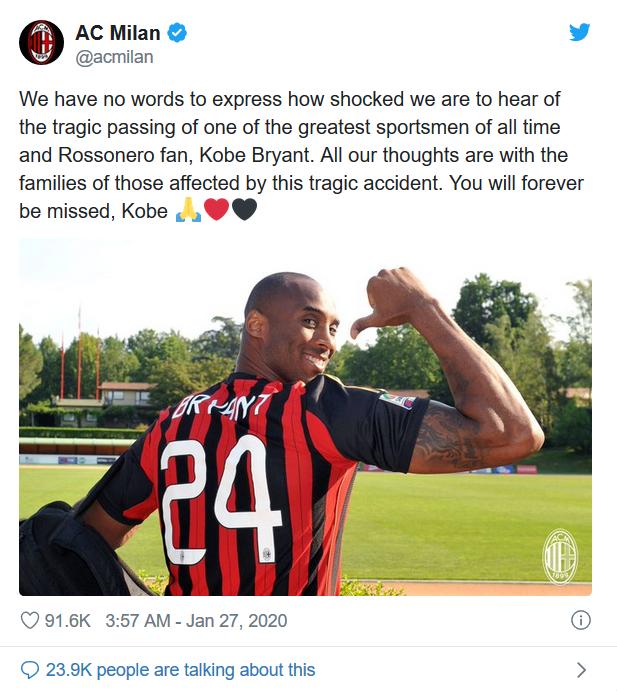 致敬!意大利籃球俱樂部將退役Kobe的24號球衣,AC米蘭曾發文哀悼!-Haters-黑特籃球NBA新聞影音圖片分享社區