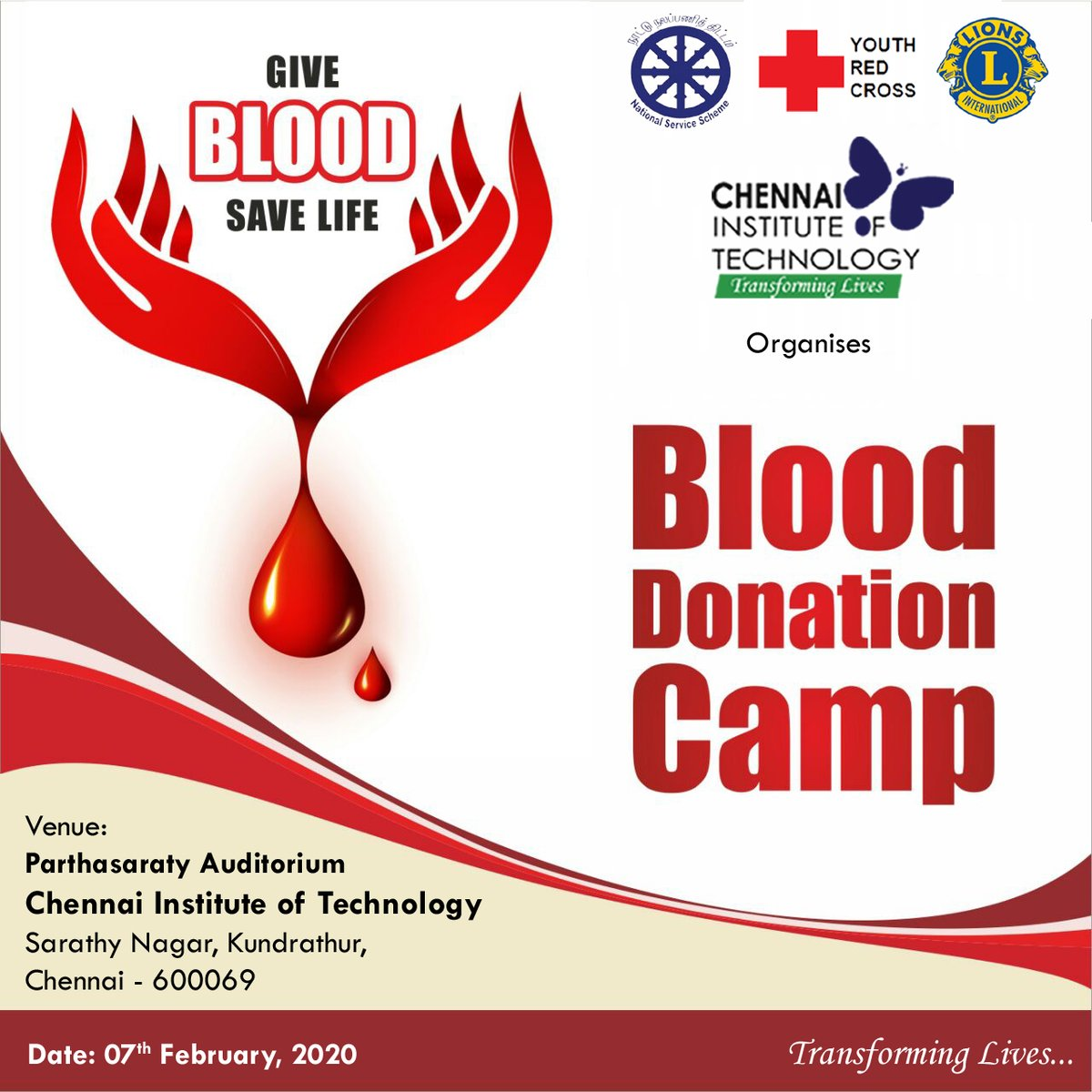 Blood Donation Camp @ #ChennaiInstituteofTechnology - organised by NSS, YRC & Lions Club of CIT in association with Lions Blood Bank Egmore on 7th February 2020 #DonateBlood #SaveLife #LionsClubpic.twitter.com/rzwRMvnLV0