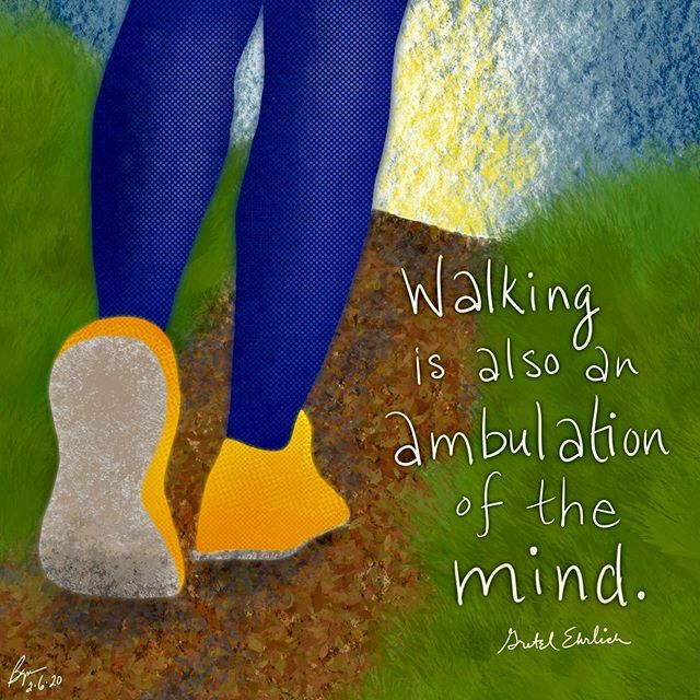 """Walking is also an ambulation of the mind."" (Gretel Ehrlich) #walking #thinking #moveyourbody #moveyourmind  #notice #illustration #visualart #visualverbal #art #artoftheday #quotes #everydayquotes #words #wordsofwisdom #wordlove #creative #creativity #… https://ift.tt/2Stj37j pic.twitter.com/GTaI1qlVUq"