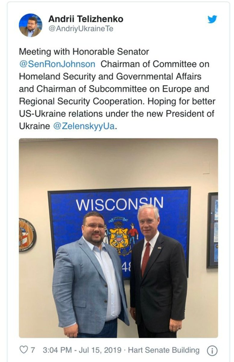Seems that @RonJohnsonWI makes it a habit to meet with Putins agents/criminals. Not surprised after his July 4th secretive trip in Moscow that pleased the Kremlin. Interesting that Telizhenko who deals w Giuliani would reach out to Johnson