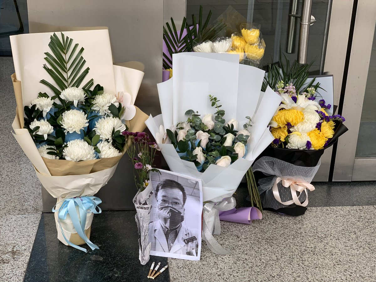 A small memorial for Dr. Li Wenliang at the branch of Wuhan Central Hospital in Houhu where he died.