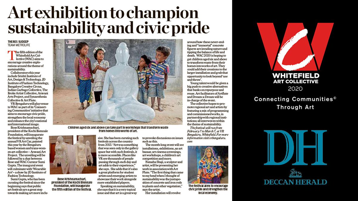 #VRBengaluru is proud to host #WhitefieldArtCollective2020, the fifth edition of the award-winning public art festival, as part of its #ConnectingCommunities initiative.  Read more about it in the @DeccanHerald: https://t.co/Hk0uO8qR79  #WAC2020 #ConnectingCommunitiesThroughArt https://t.co/Nzj6F5fwcc