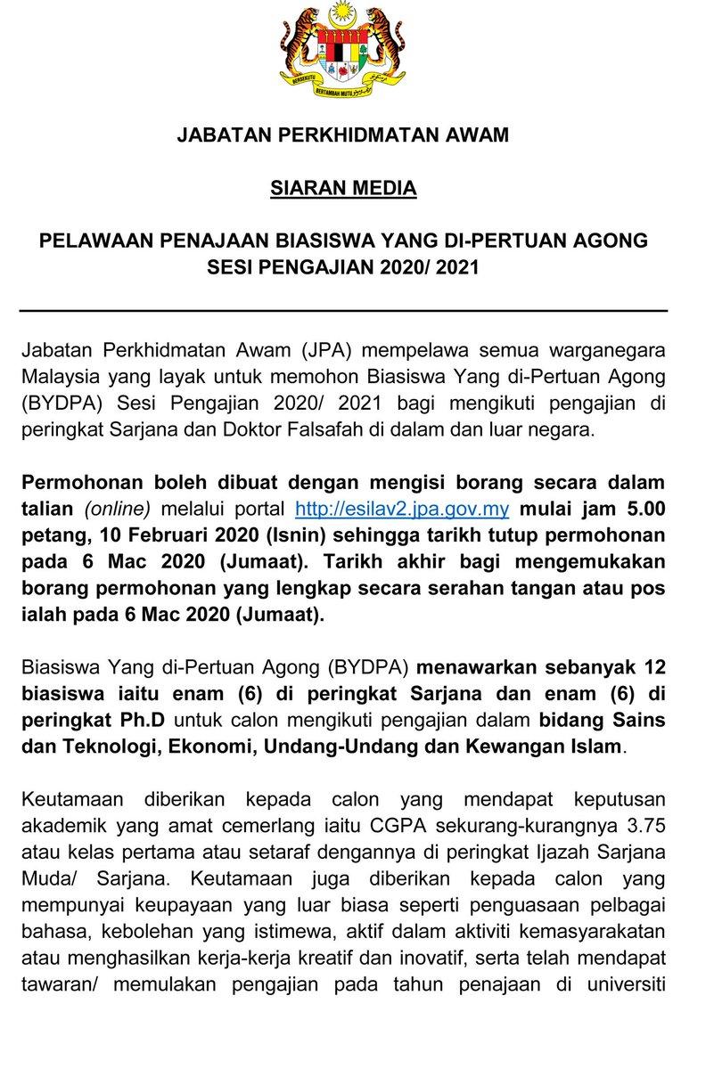 Jab Per Awam Jpa On Twitter Jpa Mempelawa Semua Warganegara Malaysia Yg Layak Utk Memohon Biasiswa Yang Di Pertuan Agong Bydpa Sesi Pengajian 2020 2021 Permohonan Blh Dibuat Mulai 10 Feb 2020 Jam
