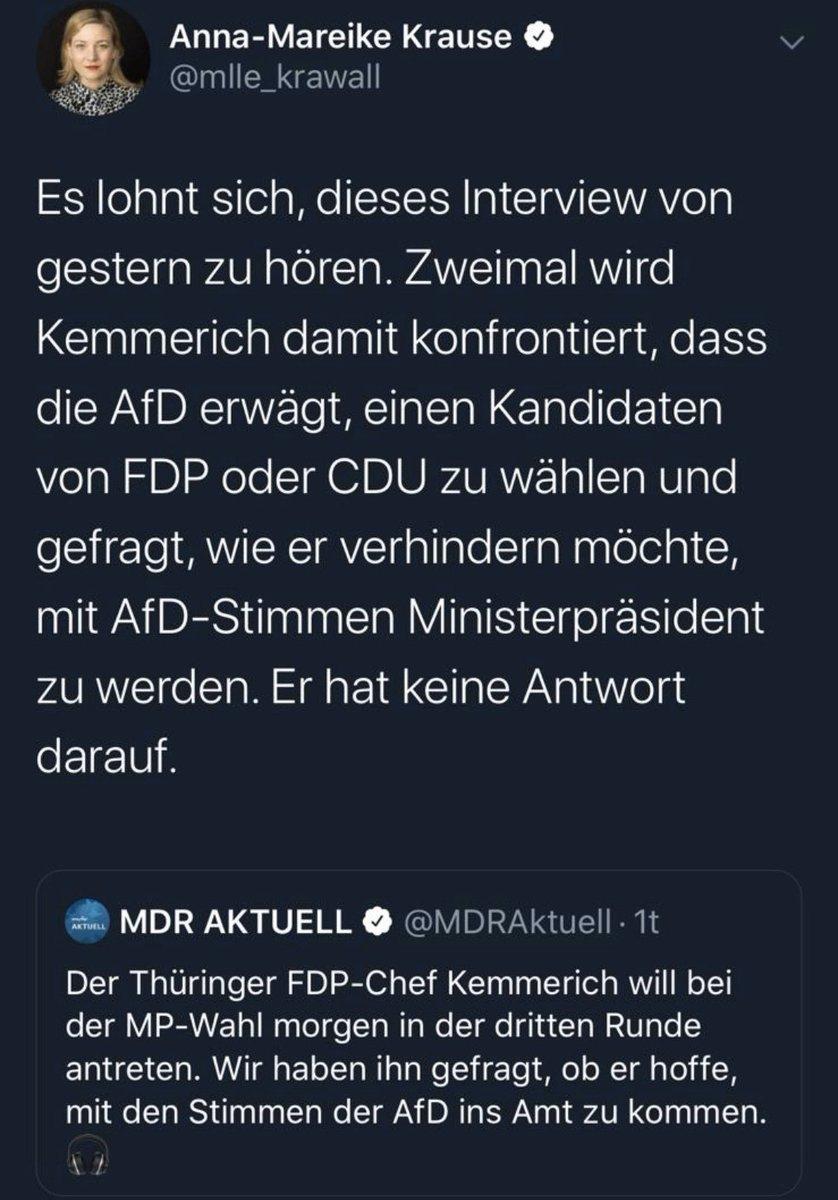 Im MDR Interview vom Dienstag (!) wird @KemmerichThL exakt nach der dann eingetretenen Konstellation, also der möglichen Wahl durch die AfD bei seiner Kandidatur gefragt. Schon da hilfloses Herumgestochere und windige Antworten.   ab 2:25: https://t.co/V3mMrB9e9L  #Thueringen