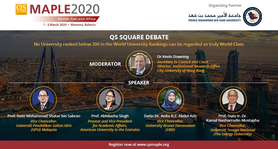 "Get ready for a fiery discussion at #QSMaple2020 during debate on  the topic ""No University ranked below 200 in the #WorldUniversityRankings can be regarded as truly #WorldClass"" .    Less than a month to go for #conference, reserve your seat : http://bit.ly/qsmaple2020   #higheredpic.twitter.com/Y9u0jYbV6h"