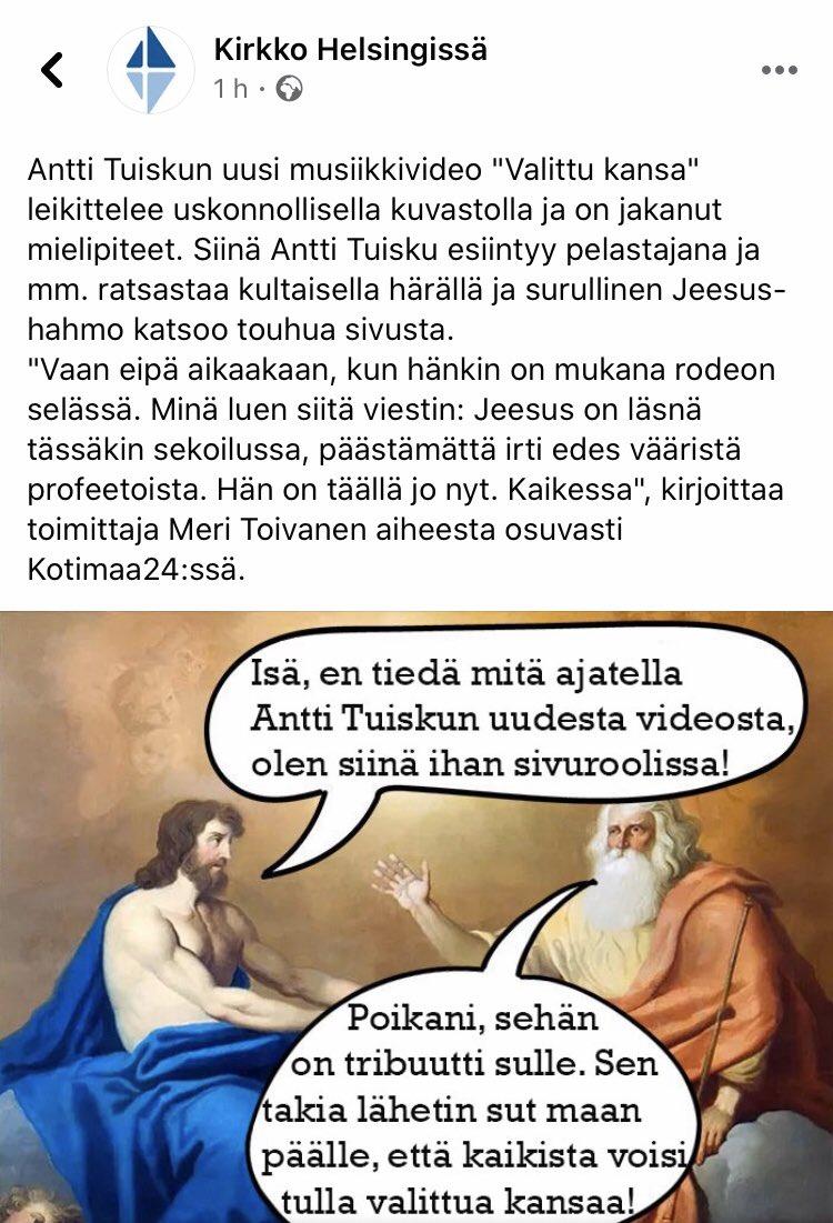 Tänään ilahdutti: Antti Tuiskun Valittu kansa -videon ja biisin analyysi @kotimaa24:ssä sekä  @Kirkko_HKIssa laupias suhtautuminen siihen.  Motherfuckin' aamen.  #valittukansa @kirkko_evl
