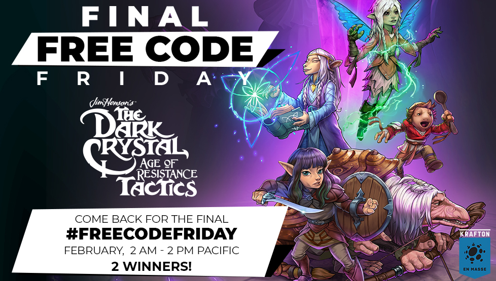 The final Free Code Friday is here, and @DCAORtactics is on our mind!  1) Follow @En_Masse_Ent  2) RT this Tweet 3) Take our quiz [LINK] and tell us what class you got!  💜 We'll pick & DM 2 random winners! 💜 Comment within 2 AM - 2 PM PST, Feb 7 https://t.co/fmTPBZCvt0