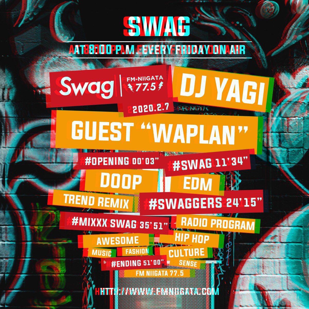 Radio on air today🥳『Swag』今夜8時からOA02.07Swag #096GUESTWAPLAN@waplanmusic 先行配信予約開始しました🤩📲✨feat.にBTSのアルバム「MAP OF THE SOUL : PERSONA」に収録された「HOME」をプロデュースしたシンガーソングライターを客演に迎えた新曲をOA😍