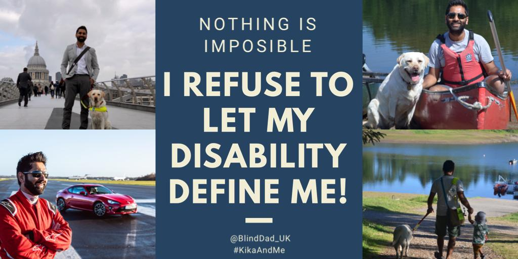I might be blind, but I refuse to let my disability define me! Remember, nothing is impossible... 💪🏽🧔🏾🐶💙 #BlindDad #KikaAndMe #FridayMotivation