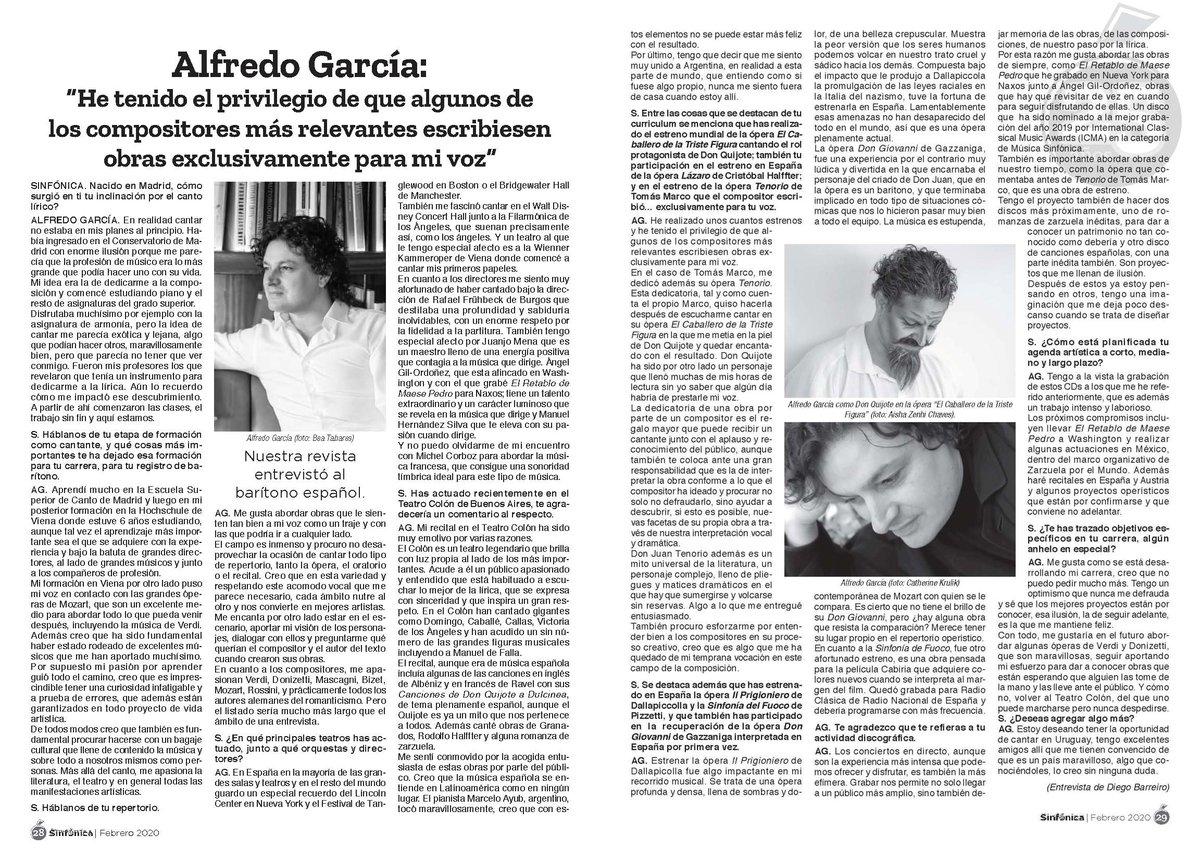 He disfrutado mucho con la entrevista que me dedica la revista Sinfónica por Diego Barreiro. Cumplen 25 años👏👏. Ahí es nada. #música #opera En pdf aquí👉: https://t.co/8fjNXZSwDX