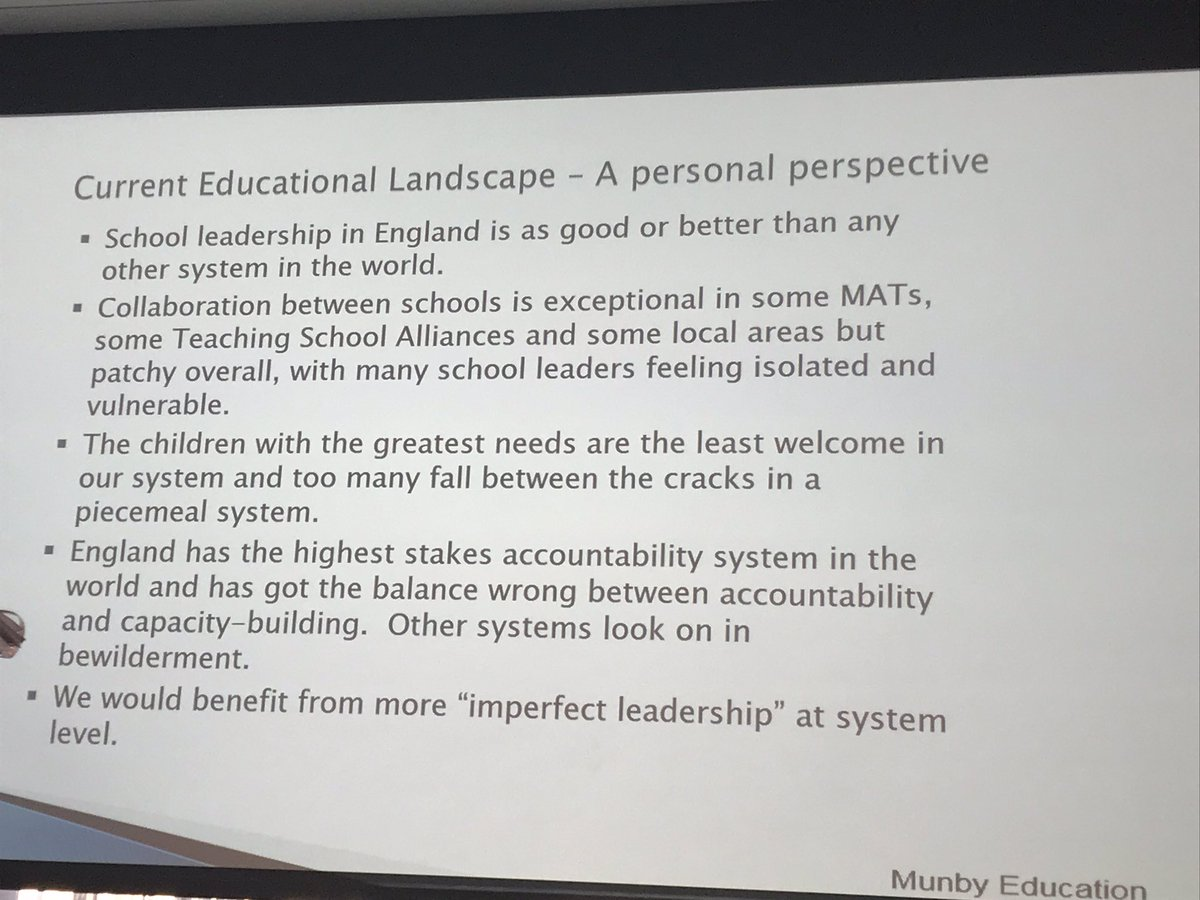 "Here's @steve_munby's ""personal perspective"" on the current educational landscape #HTRT2020"
