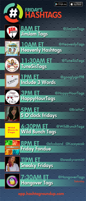Hashtag Roundup - Friday ❤️hashtag games? Tweet with us! Follow us & download our FREE @HashtagRoundup app (IOS/Android) for daily schedule & notifications right to your phone! 👉app.hashtagroundup.com👈 New weekly game at 1PM ET w/@googlygirl98