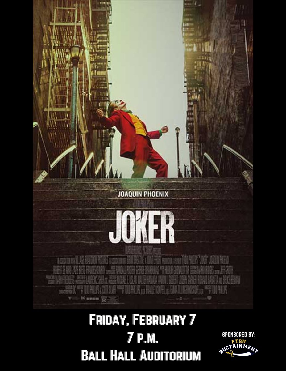 We hope to see you for our FREE movie Friday ✨tonight✨!  Come join us as we show The Joker at 7 p.m. in Ball Hall Auditorium! @ETSUActivities @etsu