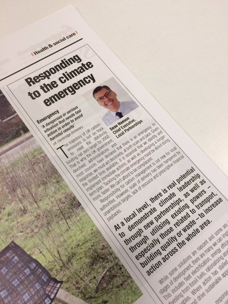 "READ: ""Responding to the climate emergency""   Sean Hanson (@LP_SeanHanson) Chief Executive of Local Partnerships writing in yesterday's @themjcouk about local authority #response to the #climateemergency.  Read here: https://t.co/NuiGOXVHUZ"