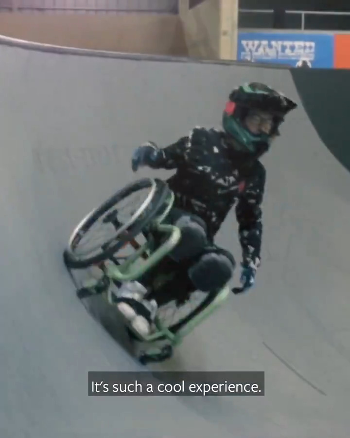 How Women's Wheelchair Motocross World Champion Lily Rice (@lilyrice_wcmx) started her journey in WCMX: a used wheelchair on @Instagram