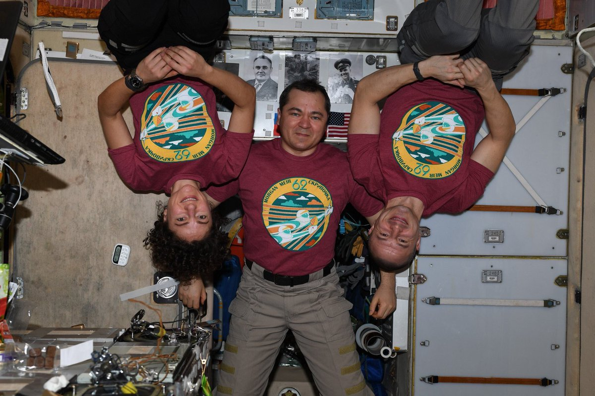 First Expedition 62 crew pic! We've declared that Fridays will be #Wear62Friday – we want you to share all the 62's you come across in your daily life and wear a 62 on Fridays. A half-sized crew needs all of your support!