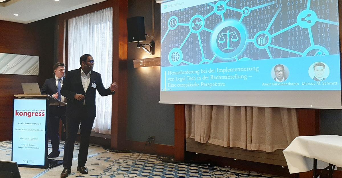 Aswin Parkunantharan zeigt auf dem @diruj_digital Unternehmensjuristenkongress die europaweiten Herausforderungen bei der Implementierung von #LegalTech in der #Rechtsabteilung auf. @ECLAcontact https://t.co/lTSLkeihjN