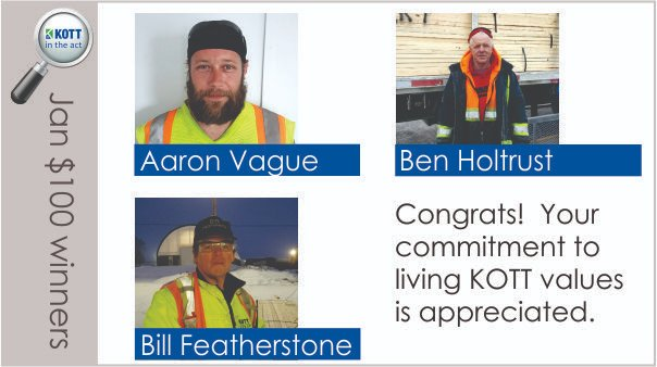 #Congrats to our Jan 'KOTT in the act' employee recognition program winners! Aaron & Ben from Uxbridge, and Bill from Ottawa were 'caught' living KOTT values while doing their day-to-day jobs. Thanks for being great teammates and understanding our purpose! #beonboard #kottproudpic.twitter.com/TxWr9I06JN