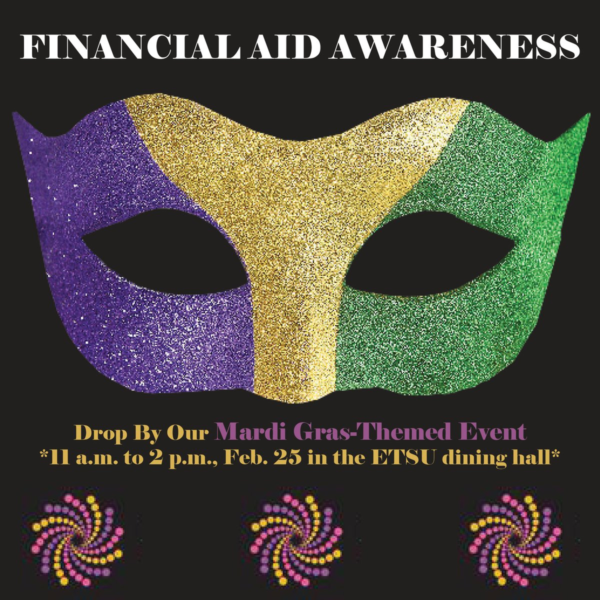 All students are welcome as we host a Mardi Gras themed event to close out Financial Aid Awareness month! Join us at the ETSU dining hall from 11 a.m. to 2 p.m. on Tuesday, February 25. https://www.etsu.edu/finaid/events.php … #ETSUFinancialAid #FinancialAidAwareness @etsu
