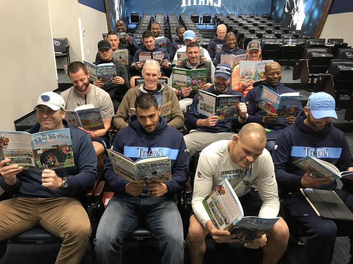The entire Titans staff started our day off with a little Hog Mollies reading! #2and7day