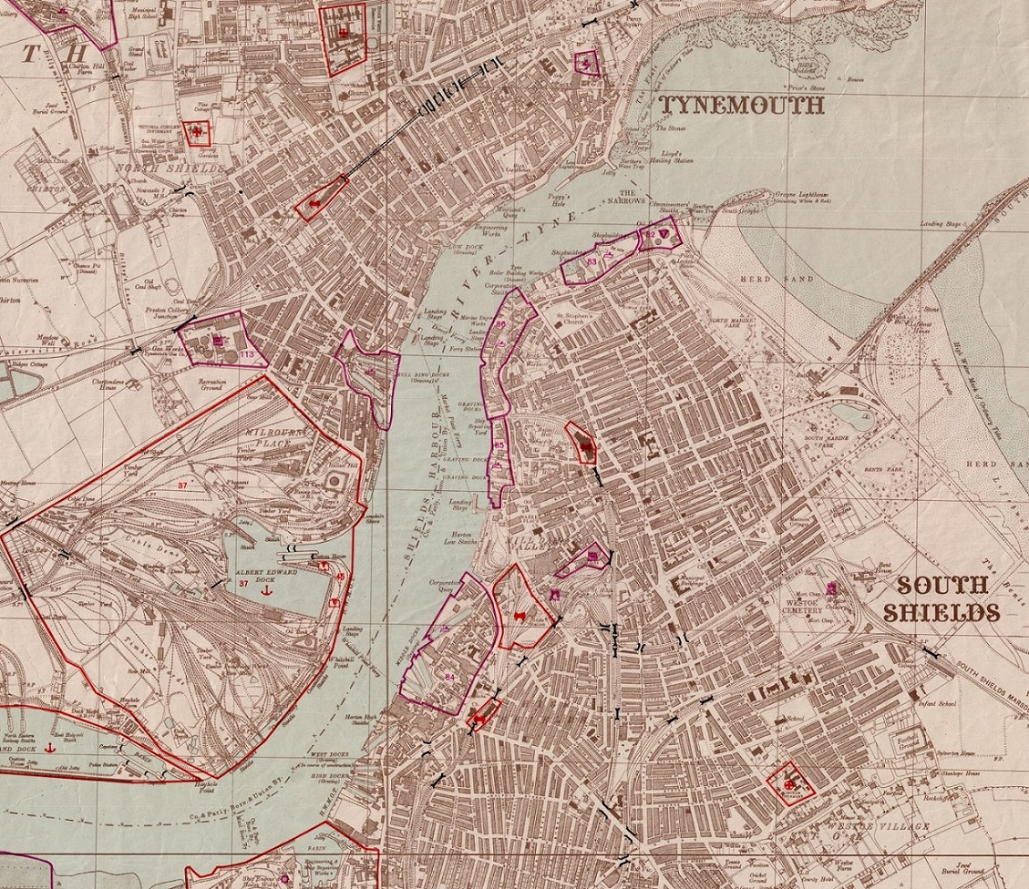 German Plans of North East Military Targets: #SouthShields and #NorthShields (also showing parts of #Wallsend and #Jarrow) c1942 Ref DX111.1 #WW2