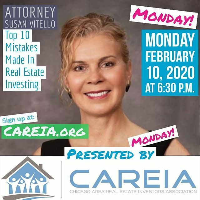 Join us on Monday February 10 at 6:30 p.m. in Lisle, IL to learn about the Top 10 Mistakes Made In Real Estate Investing from Susan Vitello. Susan will be joining us live and in-person.  #mistakes #leasing #management #propertymanagment #realestate #educ… https://www.instagram.com/p/B8RSICrIrei/pic.twitter.com/PElJPelxyr