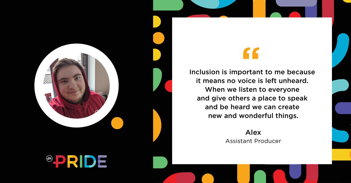 It's an incredible privilege to have EA PRIDE Employee Resource Group members like Assistant Producer, Alex, who understands the importance of inclusion at EA. #LGBT #LGBTQ #CEI2020 #HumanRightsCampaign #WeAreEA