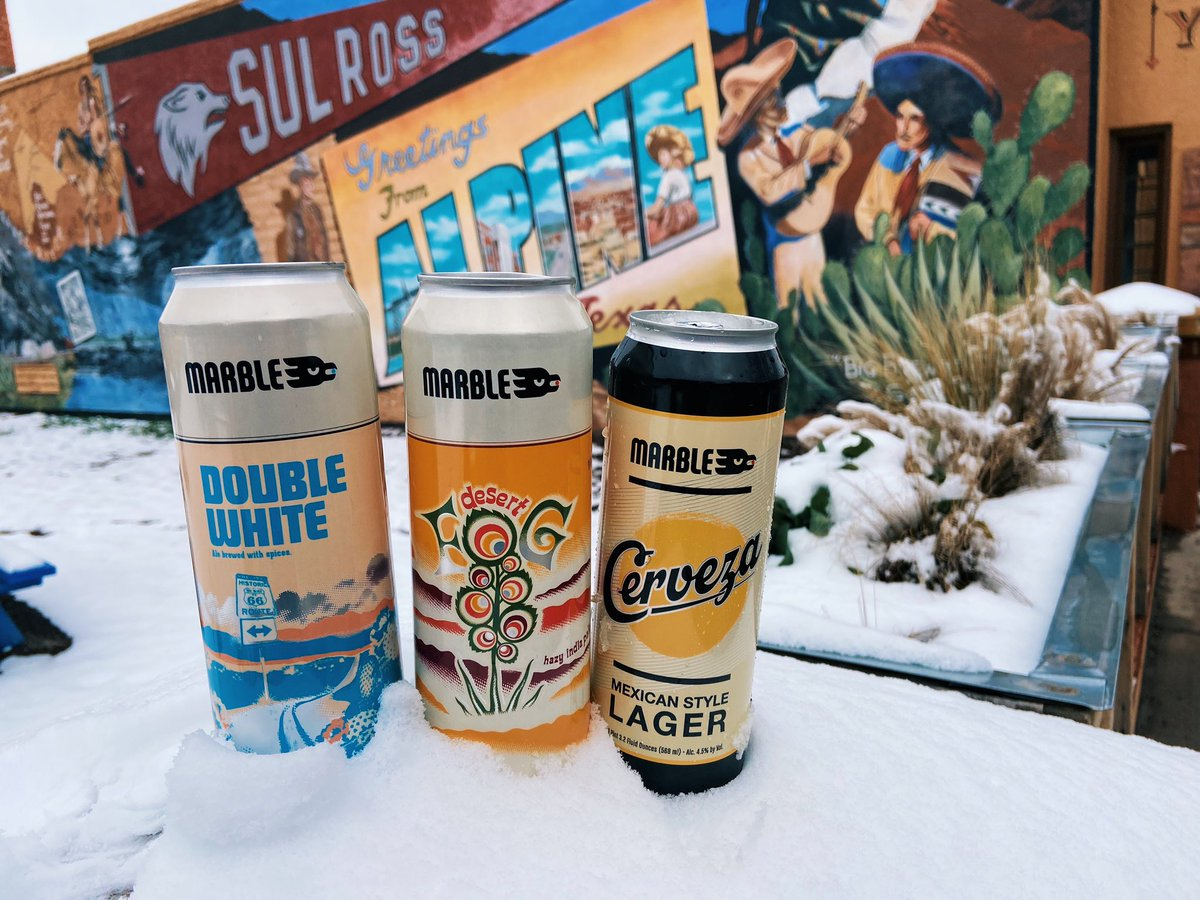 The ⭐️'s aren't the only things BIG & BRIGHT in TEXAS!  #craftbeer #marbledoestexas #unabashedlybold #doublewhite #desertfog #cerveza #canbeer #tx #texas #alpinetx #marfatexas #cervezacowboy https://t.co/0YiTcloDyh