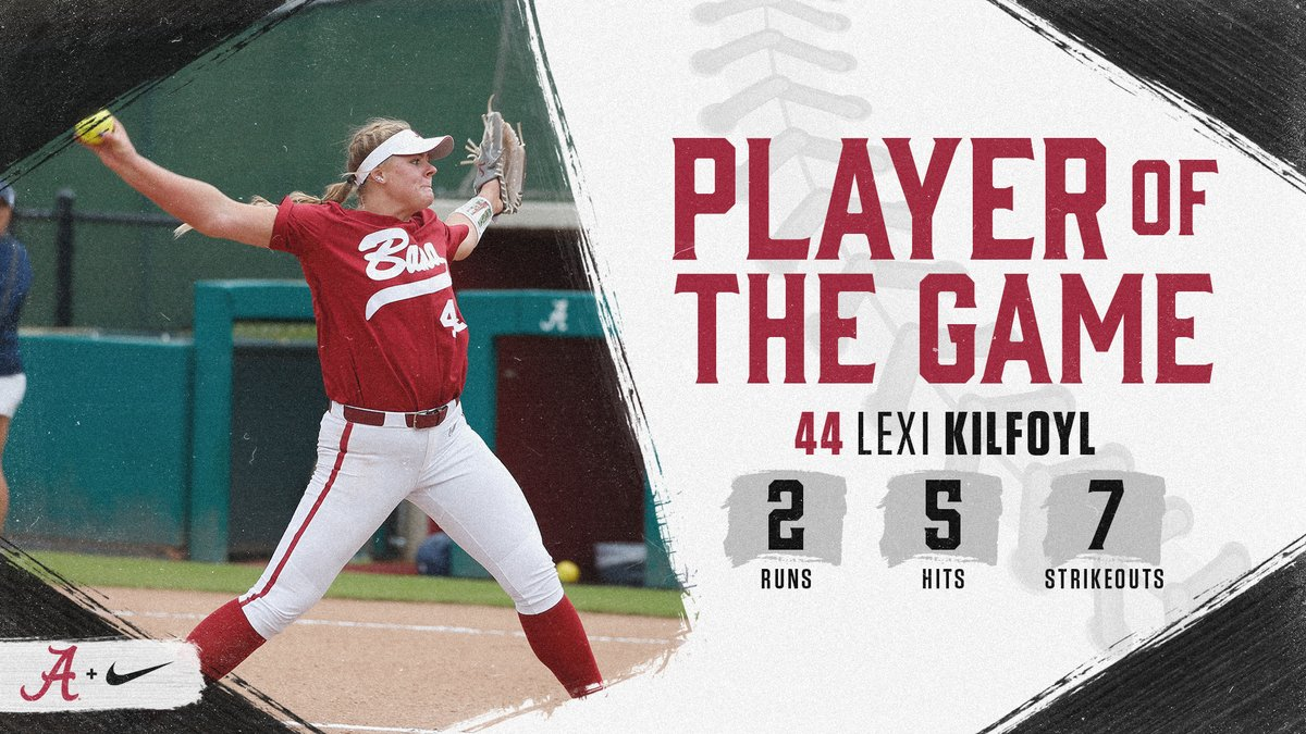 Freshman Lexi Kilfoyl goes 6.0 innings for the win in her Crimson Tide debut