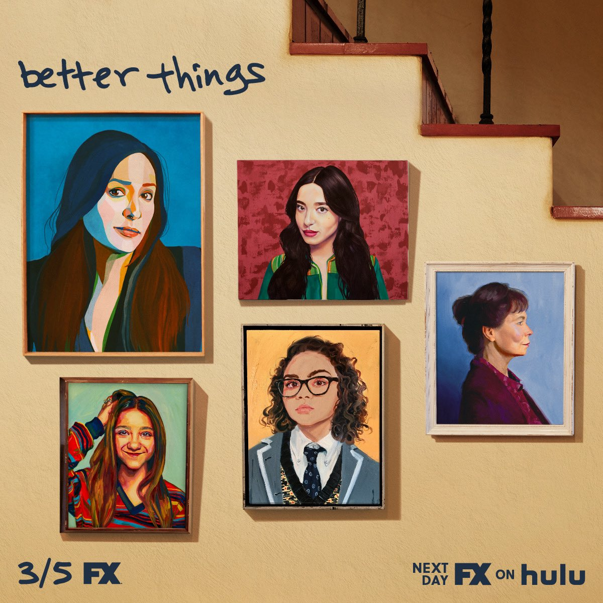 Oh my god oh my dear gay god. T-1 MONTH: SEASON 4 of BETTER THINGS!! Thursday March 5th, @BetterthingsFX airs on @FXNetworks & the next day on @Hulu. Hungry? Watch the first 3 seasons on Hulu right fucking now. Also…This is the key art. We got painted by some sick artists.
