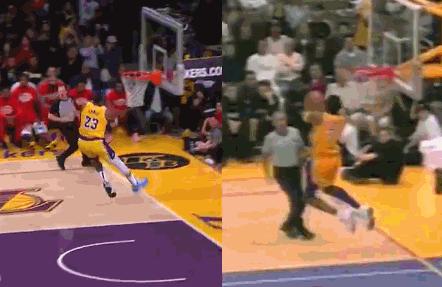 【影片】同一個球館,同一個籃筐!相隔19年,詹皇復刻Kobe背身暴扣實在太相似了!