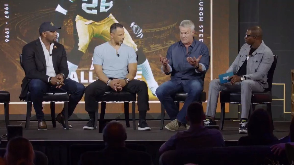 What made @BrettFavre, Brett Favre? Catch the @NFL Off the Field Huddle to hear stories from the greats – @BrettFavre, @raylewis, @DeionSanders and @RodWoodson26. 📺: Tomorrow at 8am (ET) | @nflnetwork