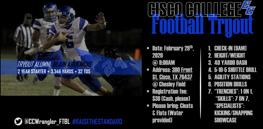2020 high school prospects @ccwrangler_ftbl is having tryouts. Save the date