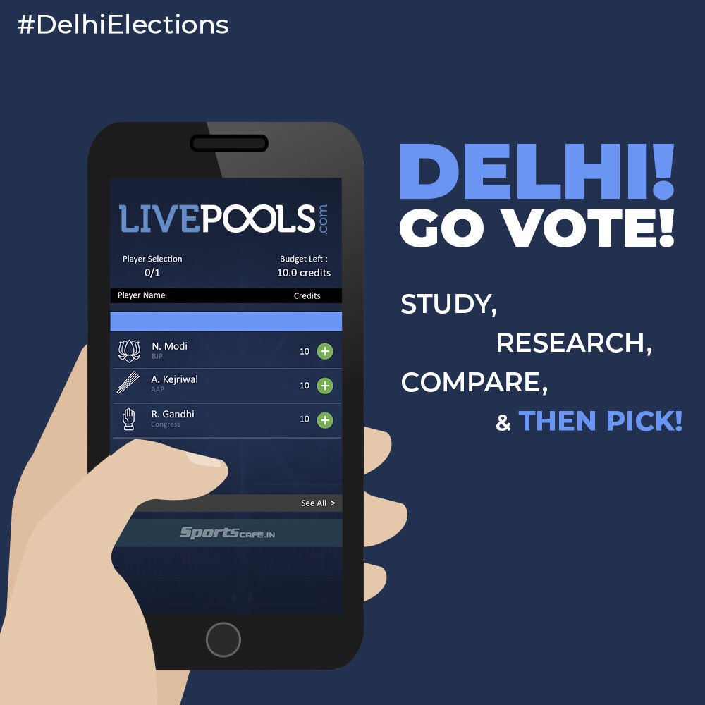 Delhi! Exercise your duty is today! 🗳 Pick your leaders like you pick your Fantasy Players. Study 🧐, Research 📊, Compare 🤔 & then Pick ☑️! #DelhiElections2020 #DelhiElections https://t.co/MOSM6Q6QTC