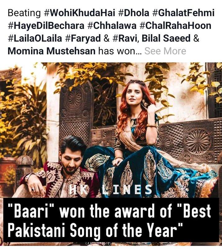 @Bilalsaeedmusic  congratulations 🎉👏 #Baari  win the hit song 2019🔥💯❣️  @Bilalsaeedmusic  with @MominaMustehsan ❣️ congratulations 🔥💯🤟❣️