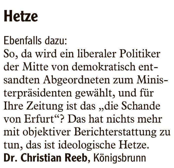 @fdpbay @DFoest Bitte fangen Sie Ihren Kandidaten für die anstehende Gemeindewahl in Königsbrunn bei Augsburg wieder ein, der solche Leserbriefe zu #Kemmerich und #thuehringen in der @AZ_Augsburg veröffentlicht.  Danke.pic.twitter.com/spLOF7faUm