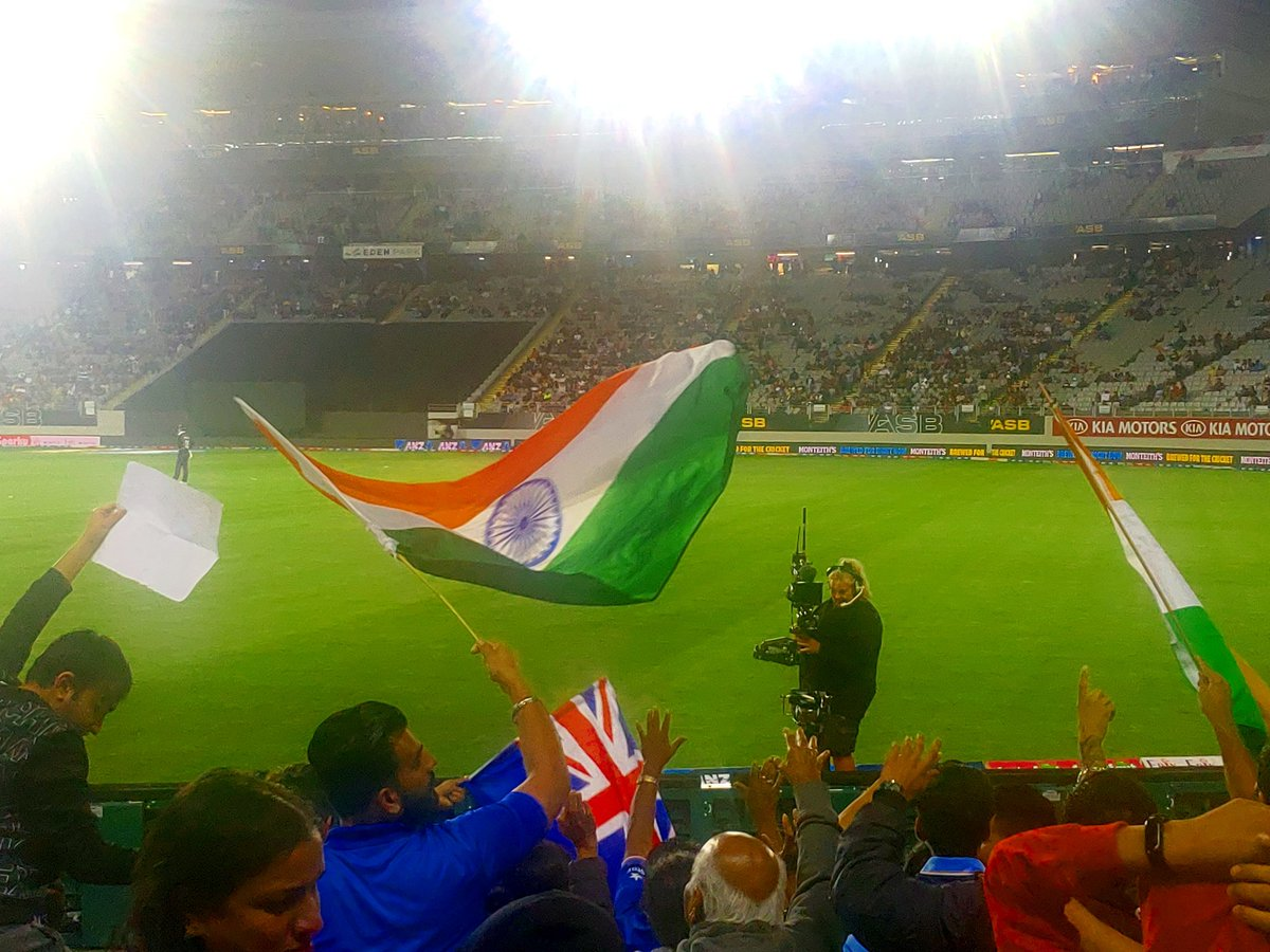 The Indian at heart  Watching #IndiaVSNewZEaland  at  #EdenPark #Auckland<br>http://pic.twitter.com/JzyDX4hhfM