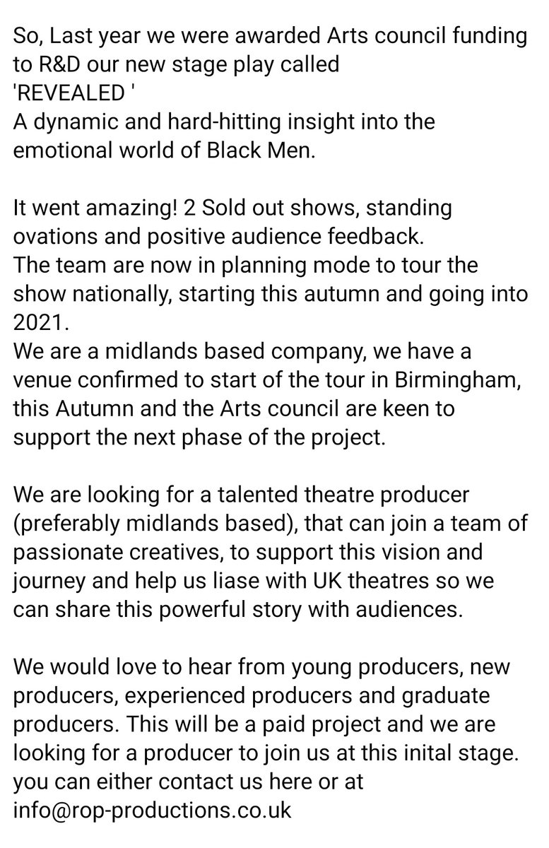 Producer needed please share far and wide @ritesopp