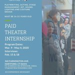 Image for the Tweet beginning: PAID THEATER INTERNSHIPS at HartBeat