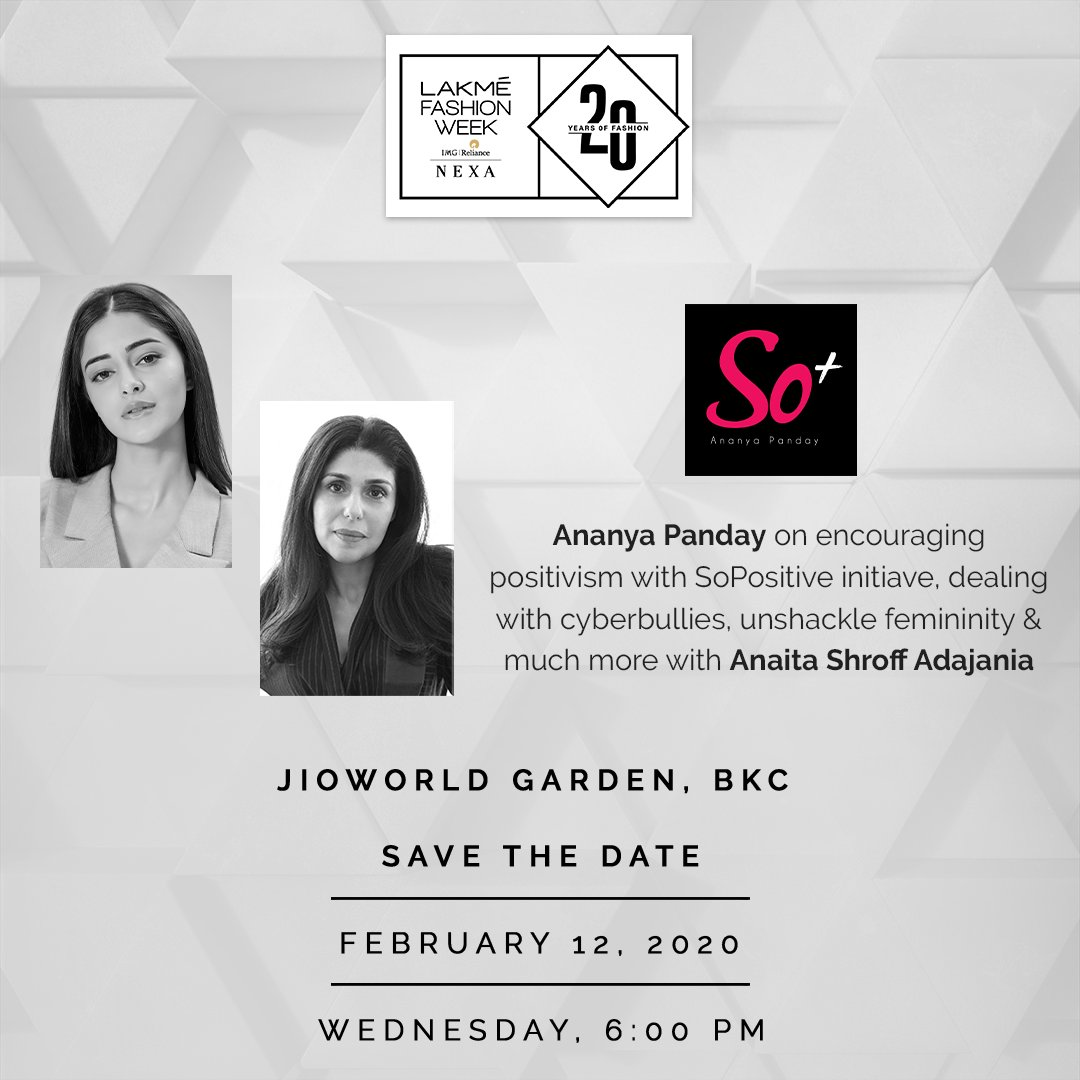 Catch @ananyapandayy getting candid about what @SoPositiveDSR stands for, dealing with cyber-bullying and much more with @Anaita_Adajania on Day 1 of #LakmeFashionWeek Summer/Resort 2020 at 6 pm in JioWorld Garden.  #LFW #LFWSR20 #5DaysofFashion #Betterin3D #LakmeFashionWeek