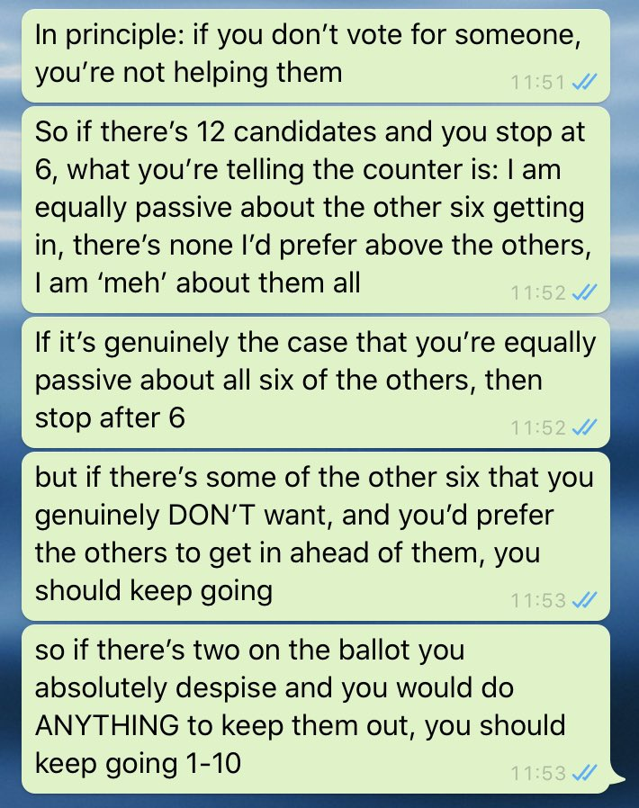 Someone just asked me the 'whether you should go the whole way down the ballot' question or whether to stop halfway. This was my response - might be useful for anyone else facing the same quandary today #ge2020