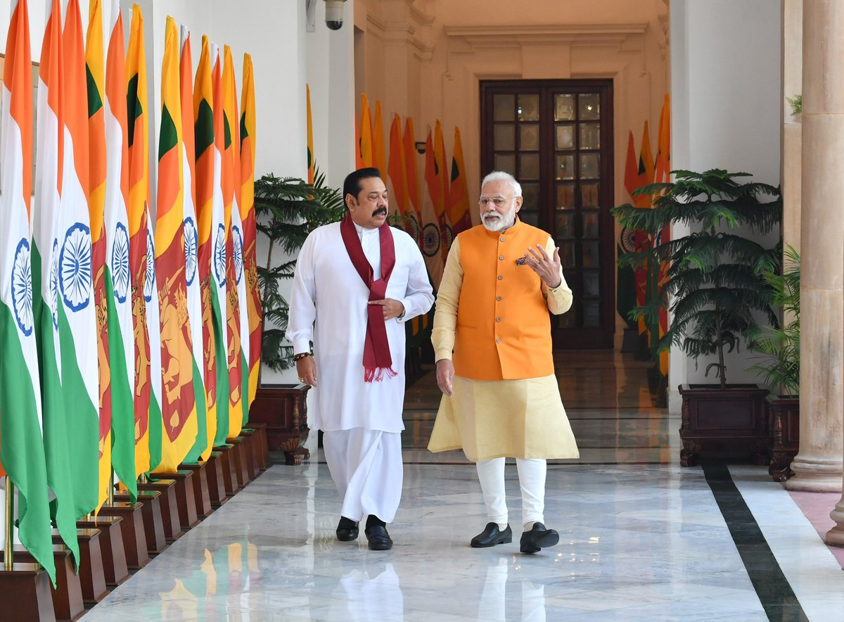 During today's talks, @PresRajapaksa and I were able to exchange views on bilateral and global issues. Matters relating to fighting terrorism and boosting security cooperation featured prominently in our discussions. We also discussed progress on joint economic projects in SL.
