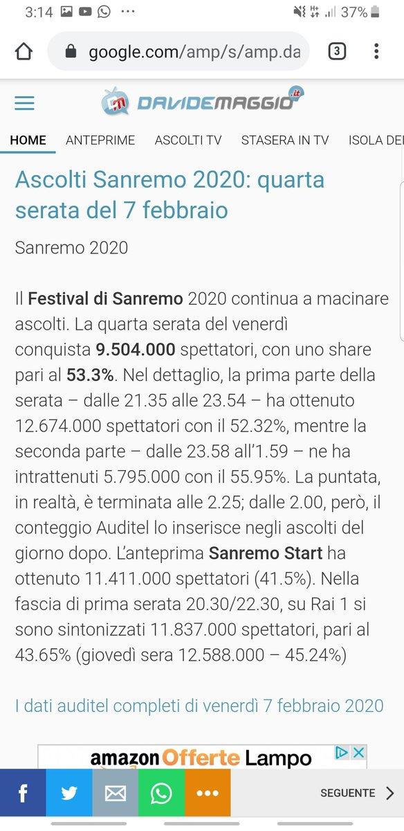 Oh cazzaro!!! #amadeus stavince nel prefestival Stravince dalle 21.30 a mezzanotte. Perde di pochissimo a tarda notte con durate diverse, quindi ingiudicabile. #Sanremo2020 #ascoltitvpic.twitter.com/HSbbWktU78